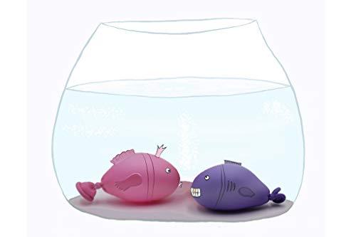Coole lustige fröhliche Postkarte | Zwei Fische im Goldfisch Glas | Aquarium