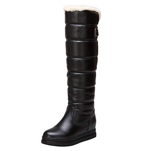Geilisungren Damen Schneestiefel Winterstiefel Warm Gefüttert Winterschuhe Langschaft Lederstiefel Wasserdicht rutschfest Schlüpfen Schneeschuhe Übergrößen Bequeme Erhöhen Snow Boots