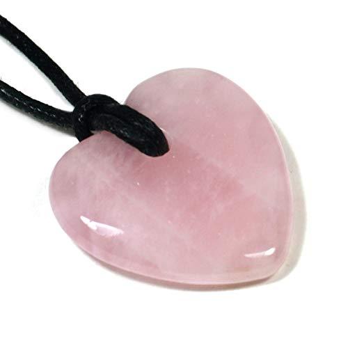 CrystalAge - Collana con pietra al quarzo, a forma di cuore, colore: Rosa