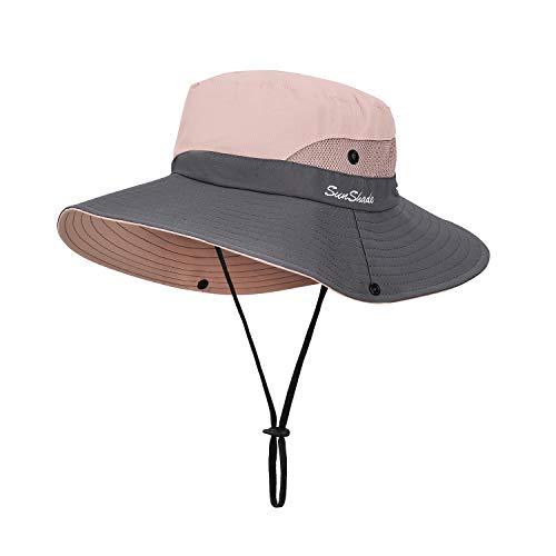 Sombrero de Sol al Aire Libre Mujer Sombrero de Cola de Caballo Plegable Gorro de Pescador Gorras de ala Ancha de Malla Sombrero de Verano Visor 56-58CM (Rosado)