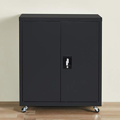 GREATMEET Metal Storage Cabinet Locking, Steel Cupboards with Adjustable Shelves for Home and Office, Black
