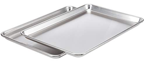 AmazonCommercial Aluminum Baking Sheet Pan, 1/2 Sheet, 17.9 x 12.9 Inch, Pack of 2