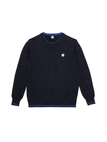 NORTH SAILS Uomo Maglia in Blu Navy Cotone con Maniche Lunghe e Scollo Rotondo - vestibilità Regular - S