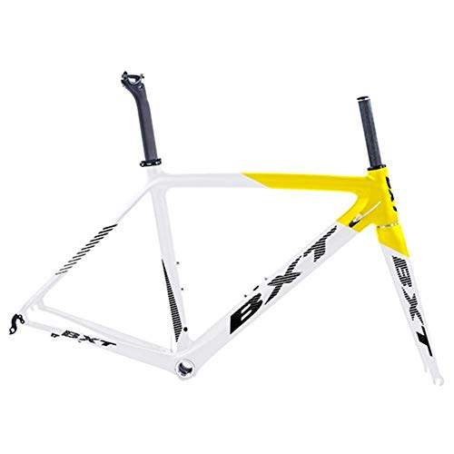 BOC T800 Carbon-Straßenfahrradrahmen Fahrrad Fahrrad Frameset Super Light 980G Di2 / Mechanical Racing Carbon Rennradrahmen,Hälfte gelb,550mm glänzend