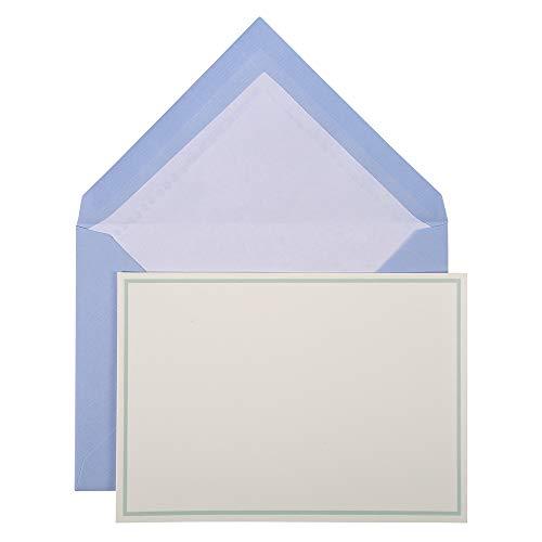 Lalo 32602L Karten Set Vergé de France (25% Hadern mit 10 Karten Vergé Papier 300 g, 107 x 152 mm, mit Farbrand blau, 10 Umschläge, weiß gefüttert, 114 x 162 mm, 1 Pack) blau
