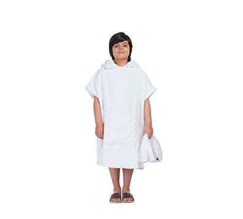 ALLEN & MATE Kids 100% Baumwollkapuzen-Handtuch Badeponcho für Kinder, Poncho mit Taschen ideal zum Schwimmen, Urlaub, Strand, Surfen und Baden (Weiß, 6-9 Jahre)