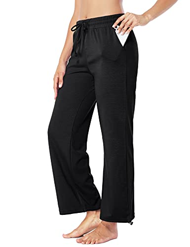 Fulbelle Lounge Pants Women, Elastic Waist Workout Pants with Pockets Loose Fitting Joggers Sweatpants Athletic Yoga Running Clothes Females Outdoors Casual Wear Black Large