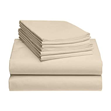 LuxClub 6 PC Sheet Set Bamboo Sheets Deep Pockets 18  Eco Friendly Wrinkle Free Sheets Hypoallergenic Anti-Bacteria Machine Washable Hotel Bedding Silky Soft - Cream King