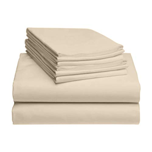 "LuxClub 6 PC Sheet Set Bamboo Sheets Deep Pockets 18"" Eco Friendly Wrinkle Free Sheets Hypoallergenic Anti-Bacteria Machine Washable Hotel Bedding Silky Soft - Cream Queen"