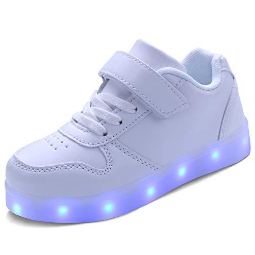 kealux Kids Youth LED Scarpe Bianche Scarpe Luminose Basse per Ragazze Ragazzi Scarpe di Ricarica USB per Bambini Moda Unisex LED Sneakers con Telecomando - 25
