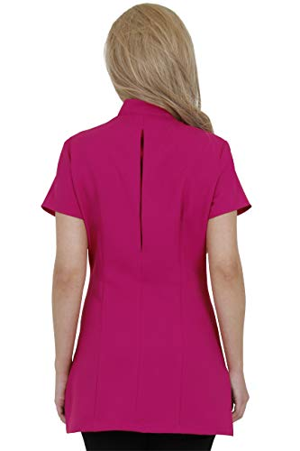 Proluxe Signature Button Beauty Tunic - Hairdressing Massage Therapist Spa Health Work Nail Salon Uniform - Available in 9 Colours (10, Fuchsia)