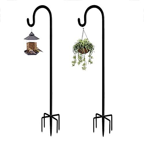 Garden Schäferhaken, 2 Stücke 96 cm Metall-Gartenstecker mit Heavy Duty Rust Resistant Haken mit 5 Prong Base Shepherds Crook Hook für Solarleuchten, Pflanzenkörbe, Laternen, Vogelhäuschen