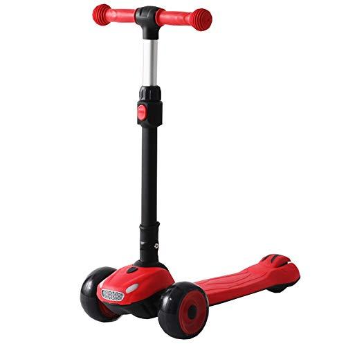 LJHBC Kickscooter für Kleinkinder Mädchen & Jungen mit klappbarer T-Bar 3 Wheel Balance Tretroller Fahren 4 Einstellbare Höhe und blinkende PU-Räder für Kinder von 3 bis 12 Jahren (Color : Blue)