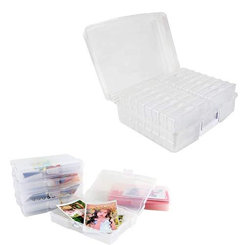 Hainice 4 X 6 Photos Étui, 16 Boîtes Intérieures, Boîte de rangement pour photos, Plastique Transparent Organisateur Dartisanat Gardien pour La Maison, Lécole Et Le Bureau