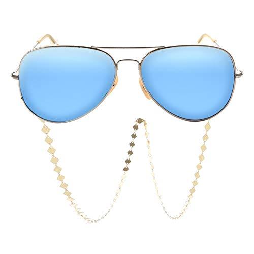 AMRT Cadena de Gafas Mujer geométrica Todo-fósforo Cadena Antideslizante de los vidrios Cadena Cadena del Diamante del Metal Ojo Femenino 2 Piezas (Color : Gold, Size : Medium)