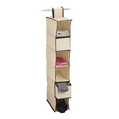 Relaxdays Hängeregal 6 Fächer mit 2 Schüben für Kleiderschrank, faltbar, HxBxT: ca. 82 x 14,5 x 30 cm, beige
