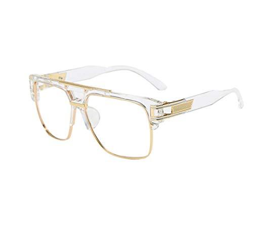 FuyingdaMänner Retro Fliegerbrille Oversize Square Klare Linse Brille