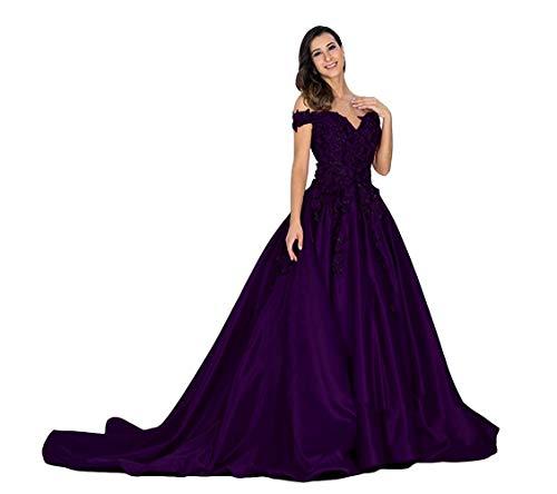 Ai Maria Women's Off Shoulder Prom Dress Satin Wedding Dresses for Bride Dark Purple (Apparel)