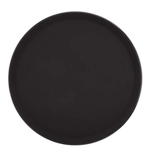 Bandeja de servicio, bandeja de servicio redonda de plástico Plato para juego de té Frutas Dulces Comida Negro(#01 28cm/11inch)