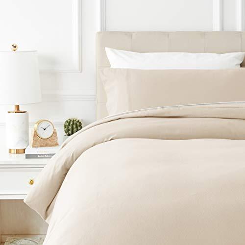Amazon Basics - Juego de cama de franela con funda nórdica - 135 x 200 cm/50 x 80 cm x 1, Beige
