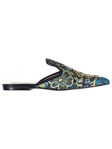 Olivia's Bow Slipper Damaststoff, Blumenmuster, Lurex, Grün, Grün - grün - Größe: 36 EU