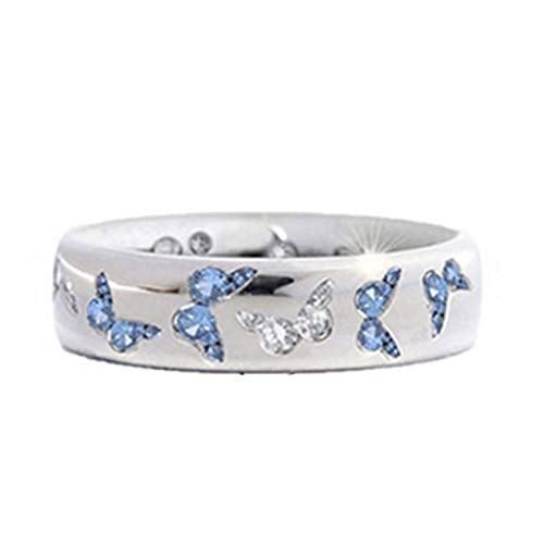 Fashion Women Butterfly Cubic Zirconia Inlaid Finger Ring Wedding Party Jewelry - Blue+White US 5 - Rings - Birthday Gifts Christmas Stocking Filler Gifts Valentines Gifts Easter Gifts