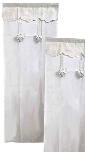 BuyStar Tenda Arredo Celine, 2 Pezzi, Decorazione Cuori, 100% Poliestere, Ideale per Cucina Bagno Soggiorno, 60 x 240 cm