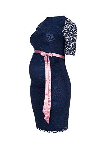 Herzmutter Umstands-Spitzen-Kleid, Elegantes-Knielanges Schwangerschafts-Kleid für Festliche Anlässe, mit Spitze aus Baumwoll-Mix, Creme-Weiß-Dunkelblau (6200) (Dunkelblau) - 2