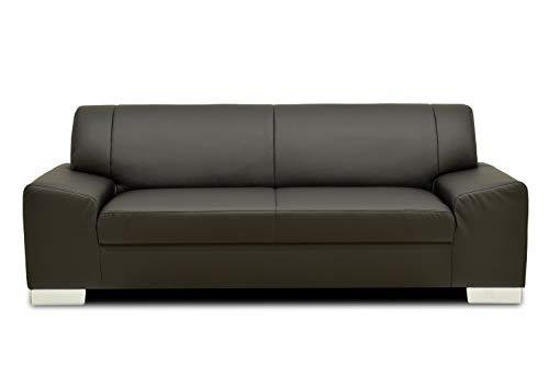 Domo Collection Alisson COUCH / 3-Sitzer Sofa / Breite: 199 cm / Bezugsstoff: Kunstleder in schwarz / zeitloses 3er Sofa