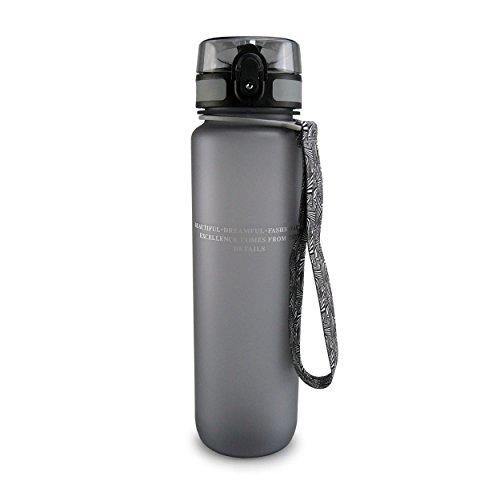 SMARDY Tritan Botella de Agua para Beber Gris - 350ml - de plástico sin BPA - Tapa de un...
