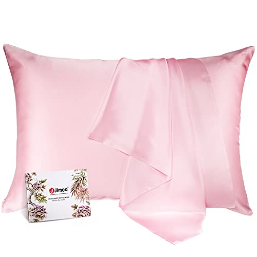 100% Mulberry Silk Pillowcase for Hair and Skin, Both Sides 19 Momme Pure Natural Silk Pillowcases Soft Breathable Standard 20''×26'', Pink 1 Pack