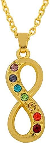 BACKZY MXJP Necklace Infinity Seven Beads Choker Natural Quartz Gemstone Pendant Necklace Chakra Reiki Necklaces Women Length 45Cm+5Cm Extender Necklace