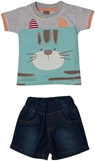 Little Kangaroos Baby Boys T-shirt With Denim Short Set , Multi/Dark Blue - ROGS2019254A