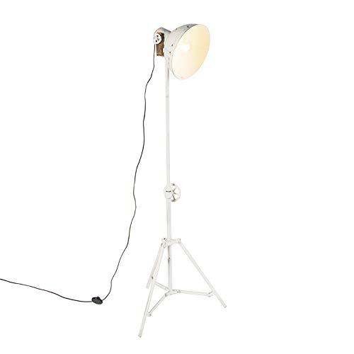 QAZQA Industrie/Industrial Industrielle Stehleuchte/Stehlampe/Standleuchte/Lampe/Leuchte Stativ weiß - Mangos/Innenbeleuchtung/Wohnzimmerlampe/Schlafzimmer Stahl/Holz Länglich LED gee