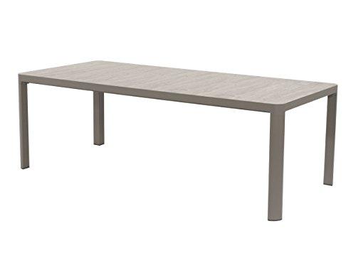 lifestyle4living Gartentisch aus Aluminium (Alu) in beige, Keramik-Tischplatte (Holz-Optik), 220x100 cm, wetterfest. Ideal als Garten, Balkon-Tisch & Terrassentisch.