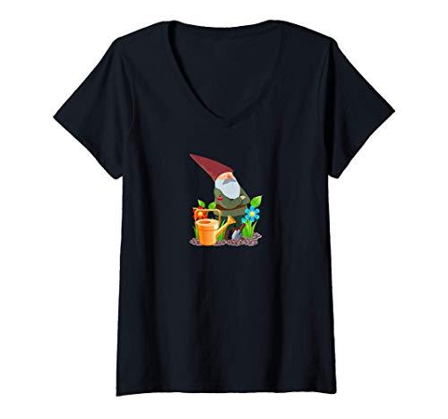 Damen Gartenzwerg Gartenarbeit Landschaftsgärtner Pflanzen Garten T-Shirt mit V-Ausschnitt