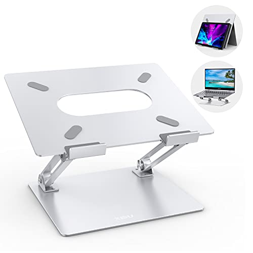 XIDU Supporto PC Portatile, Supporto per Laptop Regolabile Pieghevole Ergonomico in Alluminio Ventilato Compatibile per Macbook Air/Pro, Dell, HP, Samsung, Surface Laptop, Altri Laptop 10-17 Pollici