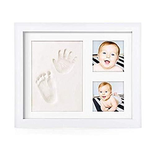 PicoTinaS. Marco de fotos para la huella de la mano y el pie del bebé con arcilla blanca, regalo original para recién nacidos