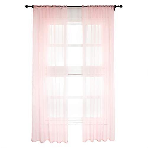 WOLTU VH5511rs-2, 2er Set Gardinen Vorhänge transparent mit Kräuselband Stores für Schiene, Doppelpack Fensterschal Voile für Wohnzimmer Schlafzimmer Kinderzimmer Landhaus, 140x245 cm Rosa