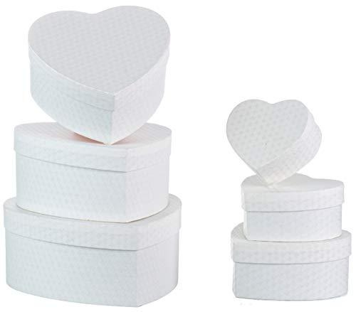 Brandsseller - Caja de regalo con forma de corazón (6 unidades, cartón resistente), color blanco