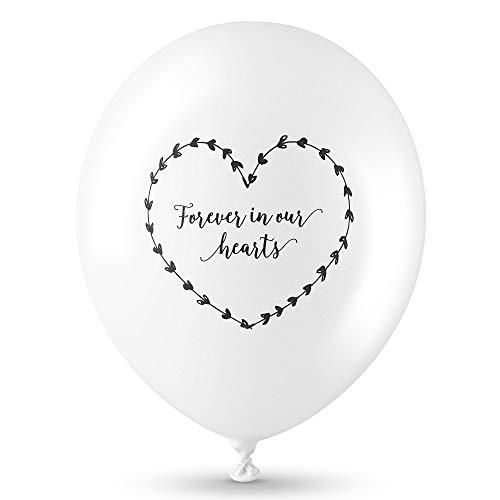 ANGEL & DOVE Beileids-Luftballons 25 Stück Weiß 'Forever in Our Hearts' für Beerdigung / Erinnerung