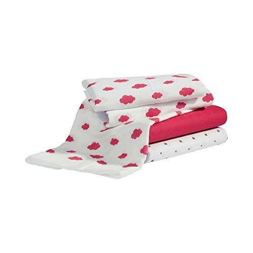 Bornino Basics Mullwindeln 80x80 cm Wolken und Sterne (3er-Pack) - Mulltücher aus reiner Baumwolle - Moltontücher ideal als Decke & Sonnenschutz