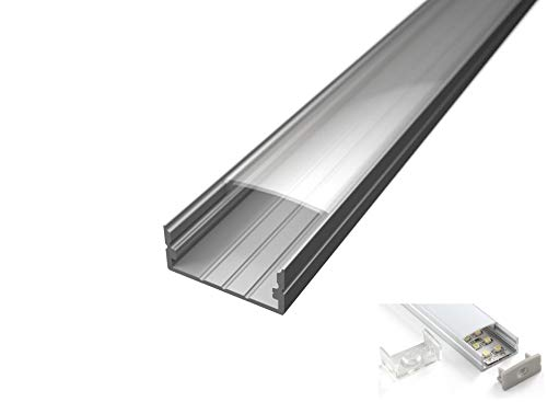 Profil en Aluminium lp1030 en barres de 2 mètres pour double bande à lED avec coque mat ou transparent bouchons et crochets de montage inclus 3 BARRE DA 2 MT (6MT) Cover Trasparente