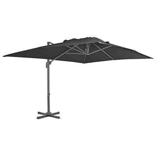 Gartenschirm Sonnenschirm, freitragender Regenschirm mit Aluminiumstange 400x300 cm Anthrazit Hausgarten Rasen Living Outdoor Sonnenschirme Sonnenschirme