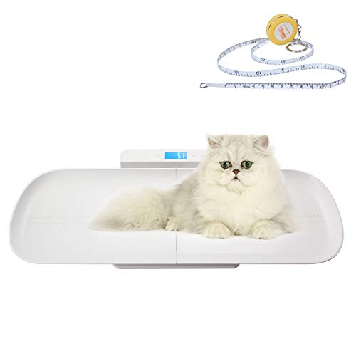 BYKAZATY Pet Scale with Tape Measure, Multi-Function Scale, Infant Scale Digital Weight with Height Tray(Max: 70cm), Measure Weight Accurately(Max: 220lb), Perfect for Puppy/Cat/Dog/Adult