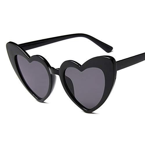 Sonnenbrille mit Herzmotiv, für Damen, großer Rahmen, modisch, niedlich, sexy, Retro, Katzenauge, Vintage-Sonnenbrille, Schwarzgrau
