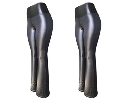 KIT 2 Flare Plus Size G1 G2 G3 Cirre Cintura Alta Brilho Molhado Couro (PRETO-PRETO, G2)