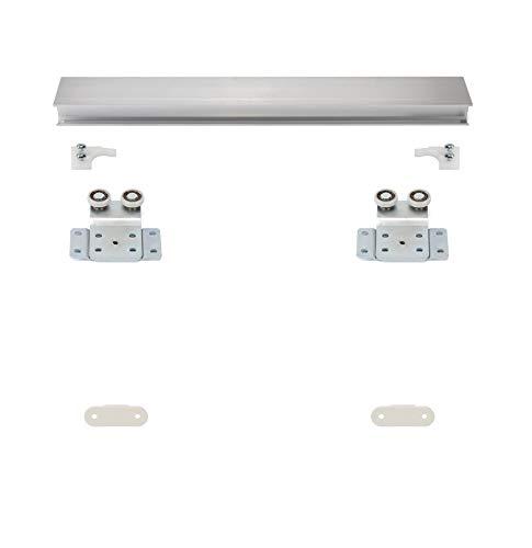 Möbelschiebetürbausatz als Hängesystem - inkl. Beschläge für 2 Türen und Obere 2-läufige Laufschiene in 2000 mm | Geeignet für Möbelkorpus gebundene Schiebetüren
