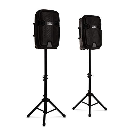 """MALONE Combo 1 - PA-Lautsprecher Set, 2-Wege-Lautsprecher, Bluetooth, 12\"""" (30 cm), aktiv und passiv, max. 700 Watt, inkl. 2 x Boxenständer, schwarz"""