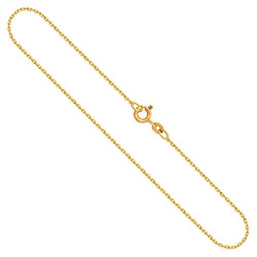 Goldkette, Ankerkette diamantiert Gelbgold 585/14 K, Länge 60 cm, Breite 1.3 mm, Gewicht ca. 3.2 g, NEU